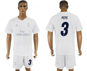 Wholesale Cheap Real Madrid #3 Pepe Marine Environmental Protection Home Soccer Club Jersey