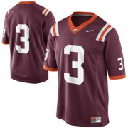 Wholesale Cheap Mens Nike Virginia Tech Hokies #3 Game Football Maroon Jersey