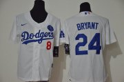 Wholesale Cheap Los Angeles Dodgers #8 #24 Kobe Bryant Youth Nike White Cool Base 2020 KB Patch MLB Jersey
