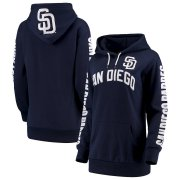 Wholesale Cheap San Diego Padres G-III 4Her by Carl Banks Women's Extra Innings Pullover Hoodie Navy
