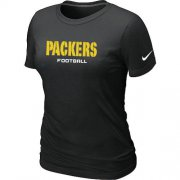 Wholesale Cheap Women's Nike Green Bay Packers Sideline Legend Authentic Font T-Shirt Black