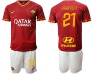 Wholesale Cheap Roma #21 Veretout Red Home Soccer Club Jersey
