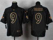 Wholesale Nike Saints #9 Drew Brees Black Gold No. Fashion Men's Stitched NFL Elite Jersey