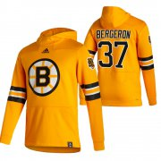 Wholesale Cheap Boston Bruins #37 Patrice Bergeron Adidas Reverse Retro Pullover Hoodie Gold