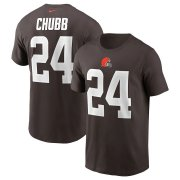 Wholesale Cheap Cleveland Browns #24 Nick Chubb Nike Team Player Name & Number T-Shirt Brown