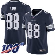 Wholesale Cheap Nike Cowboys #88 CeeDee Lamb Navy Blue Team Color Men's Stitched NFL 100th Season Vapor Untouchable Limited Jersey