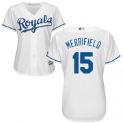 Wholesale Cheap Royals #15 Whit Merrifield White Home Women's Stitched MLB Jersey