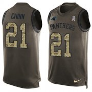 Wholesale Cheap Nike Panthers #21 Jeremy Chinn Green Men's Stitched NFL Limited Salute To Service Tank Top Jersey