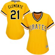 Wholesale Cheap Pirates #21 Roberto Clemente Gold Alternate Women's Stitched MLB Jersey