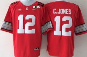 Wholesale Cheap Ohio State Buckeyes #12 Cardale Jones 2015 Playoff Rose Bowl Special Event Diamond Quest Red 2015 BCS Patch Jersey