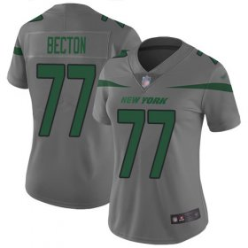 Wholesale Cheap Nike Jets #77 Mekhi Becton Gray Women\'s Stitched NFL Limited Inverted Legend Jersey