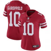 Wholesale Cheap Nike 49ers #10 Jimmy Garoppolo Red Team Color Women's Stitched NFL Vapor Untouchable Limited Jersey