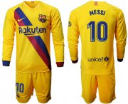Wholesale Cheap Barcelona #10 Messi Away Long Sleeves Soccer Club Jersey