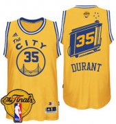 Wholesale Cheap Men's Warriors #35 Kevin Durant Gold Throwback The City 2017 The Finals Patch Stitched NBA Jersey