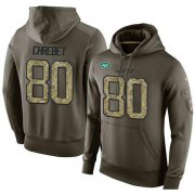 Wholesale Cheap NFL Men's Nike New York Jets #80 Wayne Chrebet Stitched Green Olive Salute To Service KO Performance Hoodie