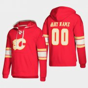 Wholesale Cheap Calgary Flames Personalized Lace-Up Pullover Hoodie Red