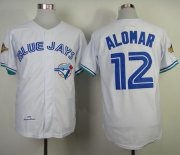 Wholesale Cheap Mitchell And Ness 1993 Blue Jays #12 Roberto Alomar White Throwback Stitched MLB Jersey