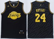 Wholesale Cheap Los Angeles Lakers #24 Kobe Bryant Revolution 30 Swingman 2014 Black With Gold Jersey