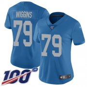 Wholesale Cheap Nike Lions #79 Kenny Wiggins Blue Throwback Women's Stitched NFL 100th Season Vapor Untouchable Limited Jersey