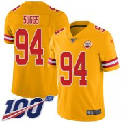 Wholesale Cheap Nike Chiefs #94 Terrell Suggs Gold Youth Stitched NFL Limited Inverted Legend 100th Season Jersey