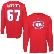Wholesale Cheap Montreal Canadiens #67 Max Pacioretty Reebok Name & Number Long Sleeve T-Shirt Red