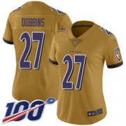 Wholesale Cheap Nike Ravens #27 J.K. Dobbins Gold Women's Stitched NFL Limited Inverted Legend 100th Season Jersey