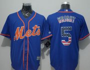 Wholesale Cheap Mets #5 David Wright Blue USA Flag Fashion Stitched MLB Jersey