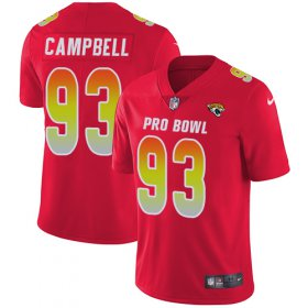 Wholesale Cheap Nike Jaguars #93 Calais Campbell Red Men\'s Stitched NFL Limited AFC 2019 Pro Bowl Jersey