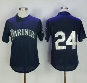 Wholesale Cheap Mitchell And Ness 1995 Mariners #24 Ken Griffey Navy Blue Throwback Stitched MLB Jersey