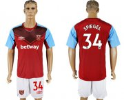Wholesale Cheap West Ham United #34 Spiegel Home Soccer Club Jersey