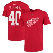 Wholesale Cheap Detroit Red Wings #40 Henrik Zetterberg Reebok Name and Number Player T-Shirt Red