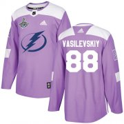 Cheap Adidas Lightning #88 Andrei Vasilevskiy Purple Authentic Fights Cancer Youth 2020 Stanley Cup Champions Stitched NHL Jersey
