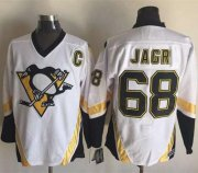 Wholesale Cheap Penguins #68 Jaromir Jagr White CCM Throwback Stitched NHL Jersey