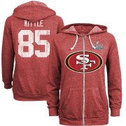 Wholesale Cheap Women's San Francisco 49ers #85 George Kittle NFL Red Super Bowl LIV Bound Player Name & Number Full-Zip Hoodie
