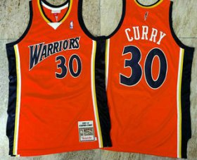 Wholesale Cheap Men\'s Golden State Warriors #30 Stephen Curry 2009-10 Orange Hardwood Classics Soul AU Throwback Jersey