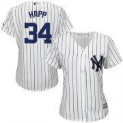 Wholesale Cheap Yankees #34 J.A. Happ White Strip Home Women's Stitched MLB Jersey