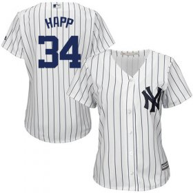 Wholesale Cheap Yankees #34 J.A. Happ White Strip Home Women\'s Stitched MLB Jersey