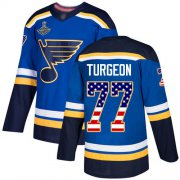 Wholesale Cheap Adidas Blues #77 Pierre Turgeon Blue Home Authentic USA Flag Stanley Cup Champions Stitched NHL Jersey