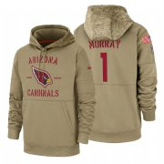 Wholesale Cheap Arizona Cardinals #1 Kyler Murray Nike Tan 2019 Salute To Service Name & Number Sideline Therma Pullover Hoodie