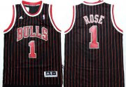 Wholesale Cheap Chicago Bulls #1 Derrick Rose Revolution 30 Swingman Black Pinstripe Jersey