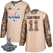 Wholesale Cheap Adidas Capitals #11 Mike Gartner Camo Authentic 2017 Veterans Day Stanley Cup Final Champions Stitched NHL Jersey