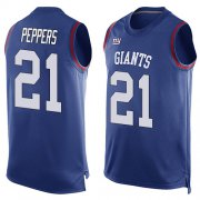 Wholesale Cheap Nike Giants #21 Jabrill Peppers Royal Blue Team Color Men's Stitched NFL Limited Tank Top Jersey