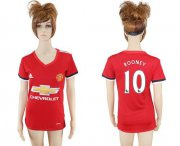 Wholesale Cheap Women's Manchester United #10 Rooney Red Home Soccer Club Jersey
