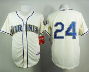 Wholesale Cheap Mariners #24 Ken Griffey Cream Alternate Cool Base Stitched MLB Jersey