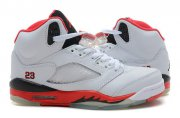Wholesale Cheap WMS Jordan 5 Shoes White/Red