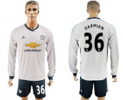 Wholesale Cheap Manchester United #36 Darmian Sec Away Long Sleeves Soccer Club Jersey