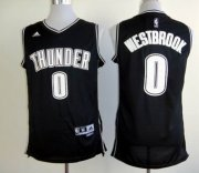 Wholesale Cheap Oklahoma City Thunder #0 Russell Westbrook Revolution 30 Swingman Black With White Jersey