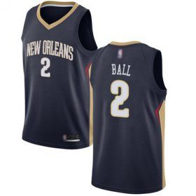 Wholesale Cheap Pelicans #2 Lonzo Ball Navy Basketball Swingman Icon Edition Jersey