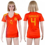 Wholesale Cheap Women's Spain #4 Guardiola Red Home Soccer Country Jersey