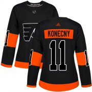 Wholesale Cheap Adidas Flyers #11 Travis Konecny Black Alternate Authentic Women's Stitched NHL Jersey